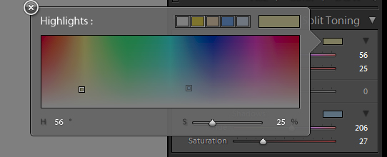 Selecting a colour to split tone the highlights