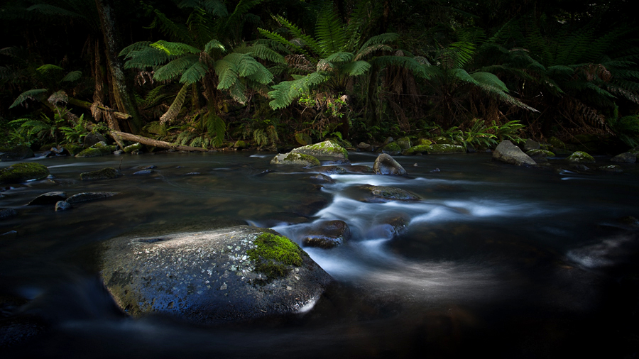 Doing my best to avoid the sun with this stream photo of Hopetoun Falls