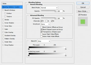 In blending modes we will look to disable the G and R channels for the new layers we have created
