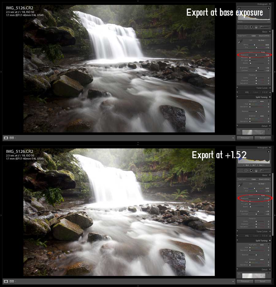 The two images used for blending in Photoshop. One at a neutral exposure and another 1.52 stops over exposed