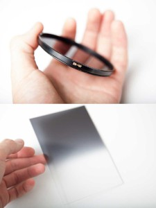 Examples of a screw on and rectangular neutral density filter