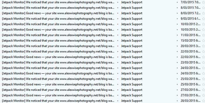 A normal week with Dreamhost - Jetpack notifying me my blog was down