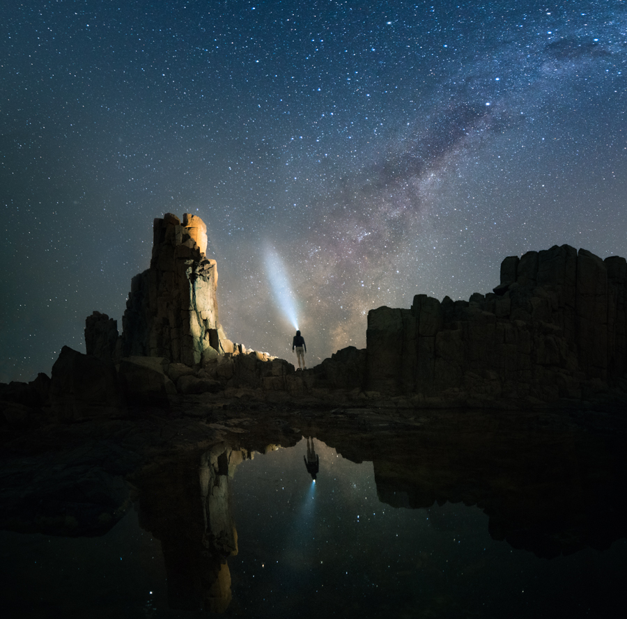 Standing beneath the milky way at the Bombo Quarry, NSW