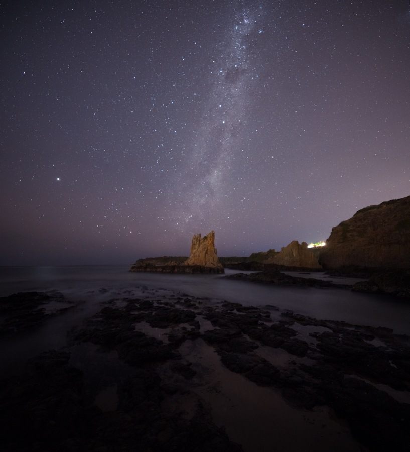 Milky way rising above Cathedral Rock, NSW