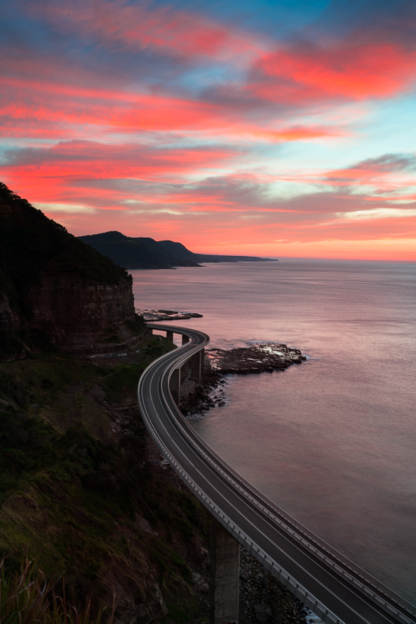 Sunrise colour at Sea Cliff Bridge, NSW
